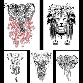 Tattoo lion 5 Pieces Elephant Lion Pattern Design Temporary Tattoo