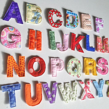 Fabric Alphabet Letters, Quiet Book, Fabric Letters, Quilted Fabric Letter, ABC, Valentine Gift, Small Letters