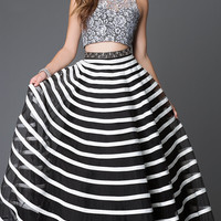 Trendy Two Piece Lace and Striped Prom Dress by Xcite