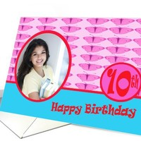 Happy Birthday 10th with butterflies Photo Card