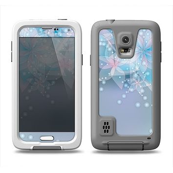 The Translucent Glowing Blue Flowers Samsung Galaxy S5 LifeProof Fre Case Skin Set