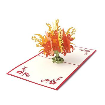 Creative 3D Pop UP Holiday Greeting Card Flower Tree Christmas Thanksgiving Gift -Y102