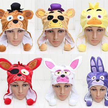FNAF Mangle Foxy Plush Hat Freddy Fazbear Bonnie Chica Five Nights At Freddy's Winter Warm Cap Hats Toy