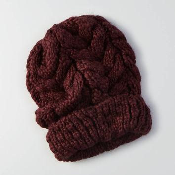 AEO Cable Knit Beanie , Burgundy