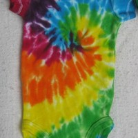 New Born Tie-Dyed Rainbow Spiral Carter's Body Suit