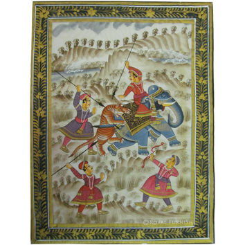 Rajasthani Mughal Miniature Painting Features Animals Hunting By King