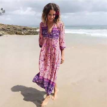 Hippie Floral Print Long Sleeve Dress