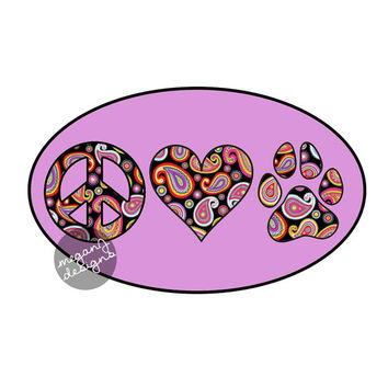 Peace Love Paw Decal - Purple Paisley Dog Paw Print Heart Vinyl Bumper Sticker Pet Cute Car Decal Laptop Decal Colorful Teal Pink Ye