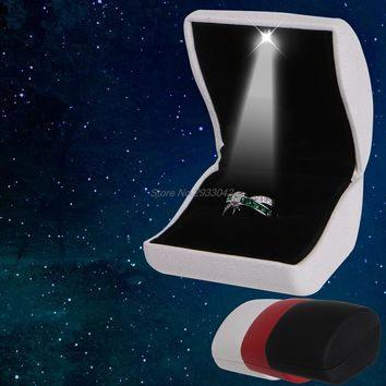 Faux Leather LED Lighted Earring Ring Box Wedding Engagement Jewelry Display Hot-W128
