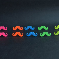 Mustache Stud Earrings Cute Earrings Bright Color  Earing 1 Pair