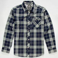 Volcom Flannibus Boys Flannel Shirt Black/Blue  In Sizes