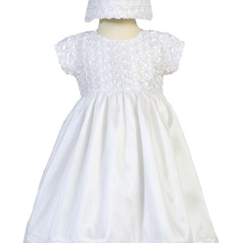 Taffeta Christening Dress with Floral Ribbon Embroidery (Baby Girls Newborn - 18 months)