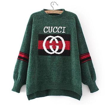 GUCCI Fashion New Stle Long Sleeve Irregular Knit Pullover Top Sweater Green I