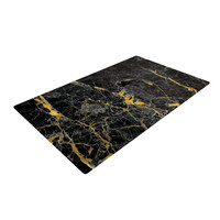 "KESS Original ""Gold Fleck Black Marble"" Digital Abstract Woven Area Rug"