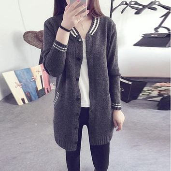 Women Sweater V-Neck Women Cardigan Sweater Women Students Sweaters Long Version Sweaters