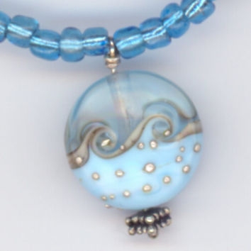 Blue Ocean Wave Pendant with Matching Blue and Silver by Lehane