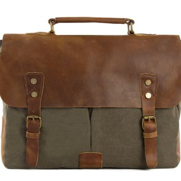 Handmade Waxed Canvas & Leather Satchel Messenger Bag - Army Green/Brown