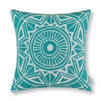 "Euphoria CaliTime Home Decor Cushion Covers Pillows Shell Cotton Linen Blend Compass Geometric Teal Color 18"" X 18"""