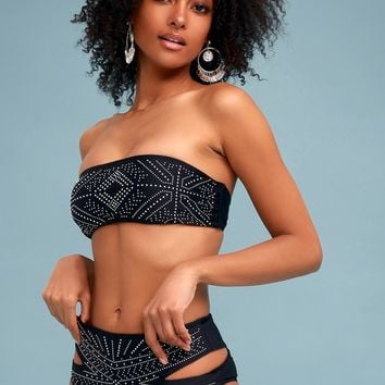 Whitney Black Studded High-Waisted Cutout Bikini Bottom
