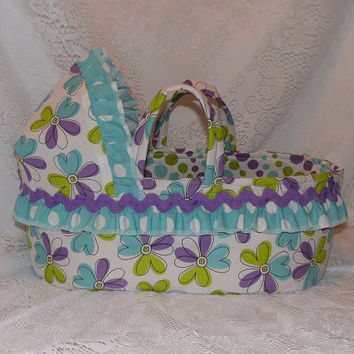 Lavender, Aqua and Lime Print Moses Basket for Dolls, Carrier/Bed for Bitty Baby, Cabbage Patch & More, Larger Size Available