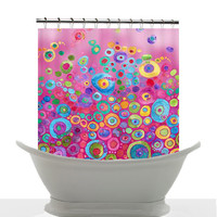 Artistic Shower Curtain - Pink Bubbles, Watercolor,  Unique, Original ,Beautiful, aqua,  colorful, decor, home