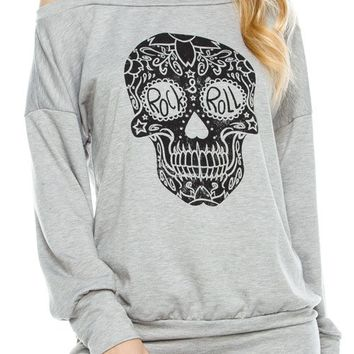 Rock N Roll Skull Print Long Sleeve Top With Cutout Detail
