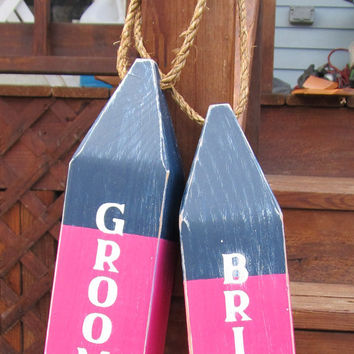 Custom Bride and Groom Buoys. Reclaimed Wood Buoys. Nautical wedding decor. Beach Wedding Decor. Made to Order