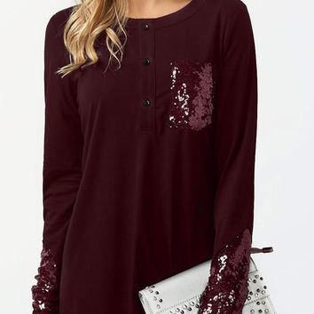Burgundy Patchwork Sequin Pockets Buttons Round Neck Casual T-Shirt
