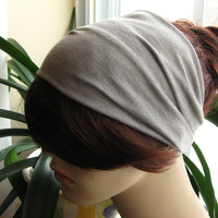 Light Grey Mix Stretch Turban Head Wrap, Yoga Headband, Wide Head Band, Hair Accessories, Turband, Gifts for Her