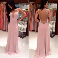 Clothes Sexy Women Lady Backless Deep V-neck Chiffon Evening Party Gown Dress