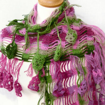 Crochet shawl lace woodland scarf spring wrap shawl pink green wrap long scarf with fringes and granny squares applique teamt tagt team