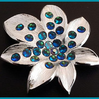 "Weiss Brooch Pin Signed Peacock Blue Rhinestones Silver Metal Designer Holiday Jewelry  2.5"" Vintage"