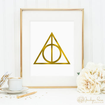 Harry Potter gift, Harry Potter print, Deathly Hallows art, Deathly Hallows print, faux gold foil printable (JPG), gift for Harry Potter fan