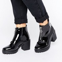 New Look Patent Zip Up Chunky Boot at asos.com