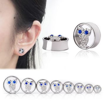ac PEAPO2Q Ear Expander Body Piercing Jewelry 1 Pair Stainless Steel Hollow Crystal Owl Flare Flesh Tunnel Ear Plugs 10-25mm Ear Stretcher