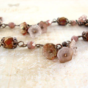 Rustic Pink and Copper Bracelet - Dainty Flower Bracelet - Woodland Antique Copper Nature Jewelry - Dusty Pink Neo Victorian Jewelry