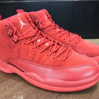 2017 Air Jordan 12 Retro Red Suede All Red - Beauty Ticks