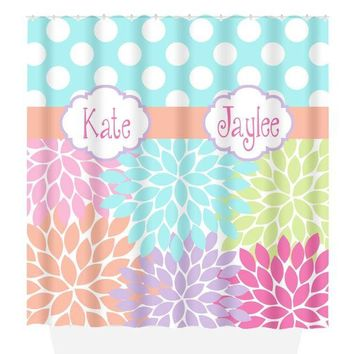 Sister SHOWER CURTAIN, Flowers Polka Dots, Dorm MONOGRAM Personalized, Girl Bathroom Decor, Bath Towel, Plush Bath Mat