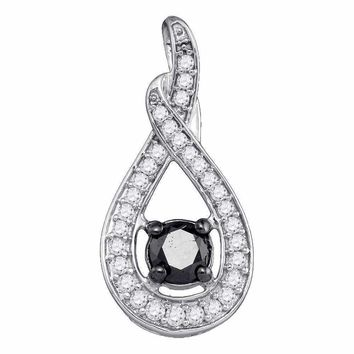 10kt White Gold Women's Round Black Color Enhanced Diamond Teardrop Pendant 1-4 Cttw - FREE Shipping (US/CAN)