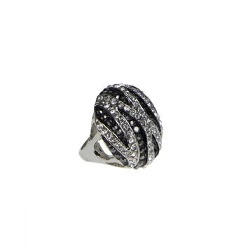 Black and White Crystal Striped Ring
