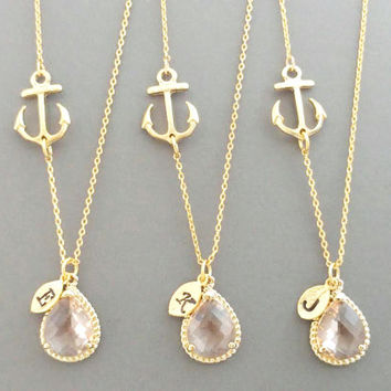 Set of 1-4, Personalized, Letter, Initial, Nautical, Champagne, Peach, Marine, Anchor, Gold, Necklace, Sets, Bridesmaid, Wedding, Gift