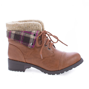 Loanna Tan Pu by Soda, Sweater Knit Ankle Cuff Combat Military Lace Up Boots