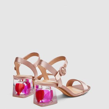 SATIN SANDALS WITH EMBELLISHED HEELS