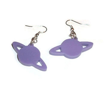 Pastel Planet Earrings, Lilac Saturn Dangle Earrings, Space Jewelry, Laser Cut Perspex, Kawaii