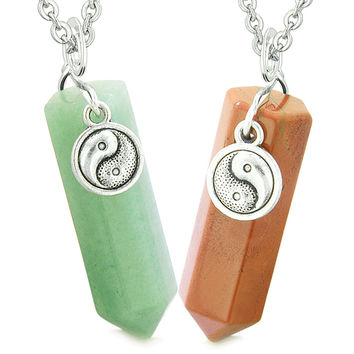Lucky Yin Yang Amulets Love Couples or Best Friends Crystal Points Green Quartz Red Jasper Necklaces
