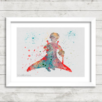 The Little Prince Watercolor Art Poster Print, Baby Nursery Art, Kids Decor, Minimalist Home Decor Not Framed, Buy 2 Get 1 Free! [No. 01]