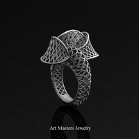Yerevan - Cathartic Beauty 950 Platinum Modern Rococo Lace Ring R530-PLAT