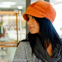 Gillian Hat Womens Newsboy Cap in Rustic Orange by piperandpaisley