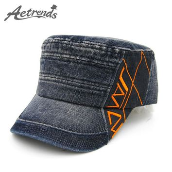 [AETRENDS] 2016 New Patchwork Colors Cotton Flat Military Hat Cadet Flat Hats for Men and Women Military Cap Z-2218