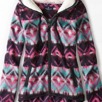 AEO 's Printed Polar Fleece Hoodie (Summer Burgundy)